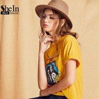 SheIn Women Summer T Shirt Yellow Cartoon Print T Shirt Women Tops Summer 2017 Womens Short