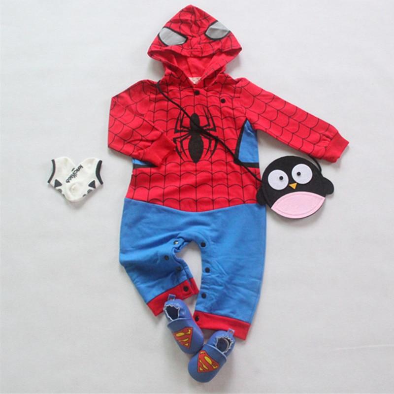 Baby <font><b>Spiderman</b></font> Clothing Newborn Cartoon Hooded Romper <font><b>Infant</b></font> Halloween Christmas <font><b>Costume</b></font> Baby Birthday Gift One Piece Outfits
