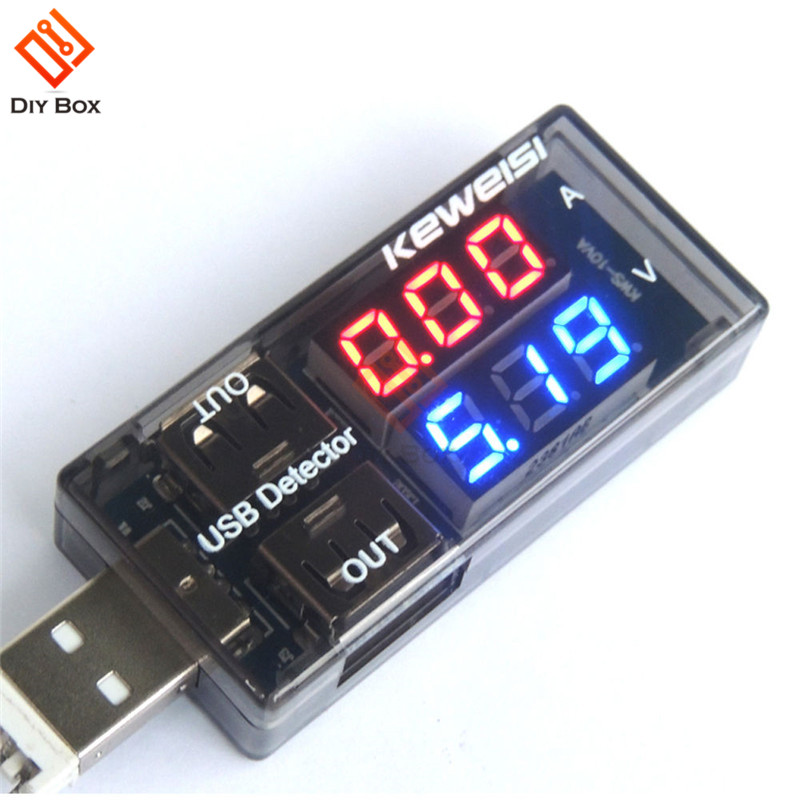 Dual USB Current Voltage Charging Detector Tester Battery Voltmeter Ammeter Charger Doctor Red Blue Display Voltmeter Ammeter