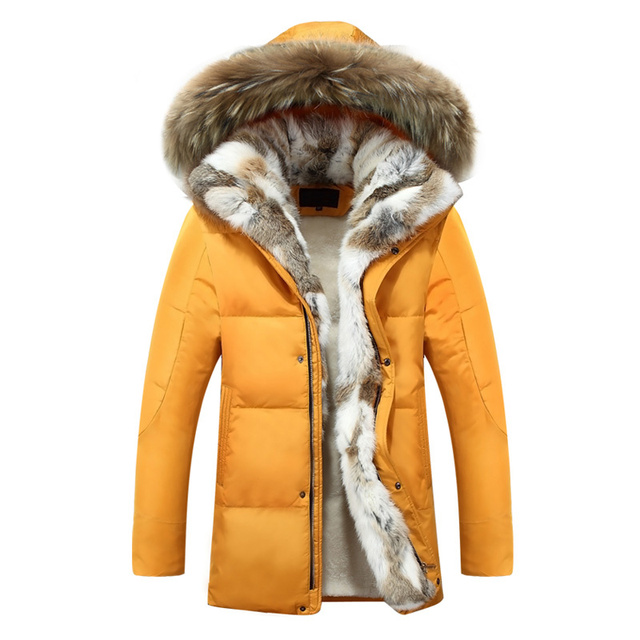 Luxury Men Down Jackets Fur Collar Fashion Thick Warm Parka Casual Hooded Coat Snow Men Winter Down Jacket Coat