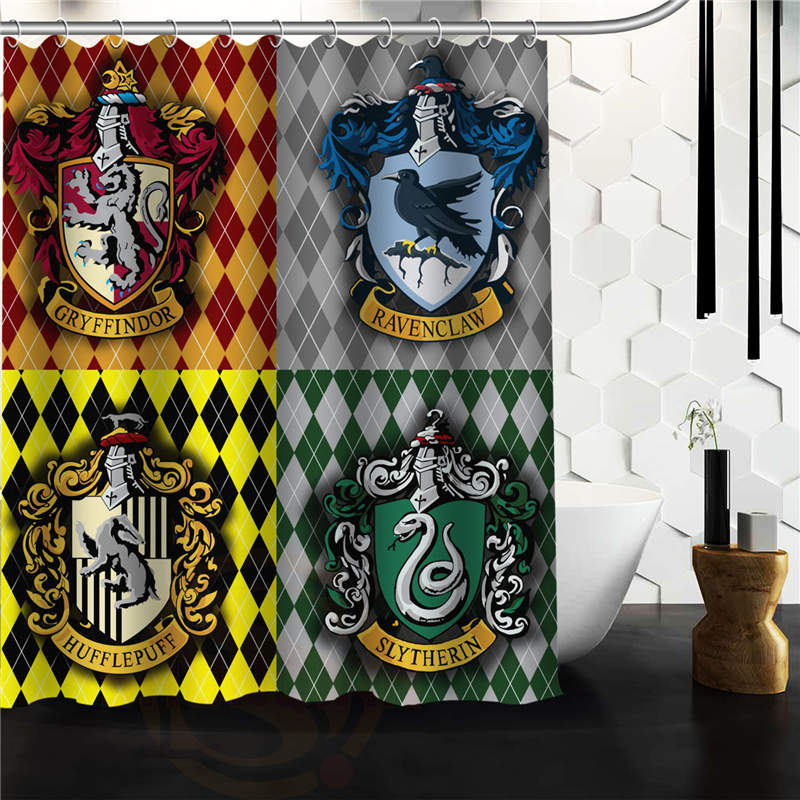 Harry Potter Houses Symbols Custom Waterproof Shower Curtain Bathroom 66x72 60x72 48x72 inch Free Shipping.