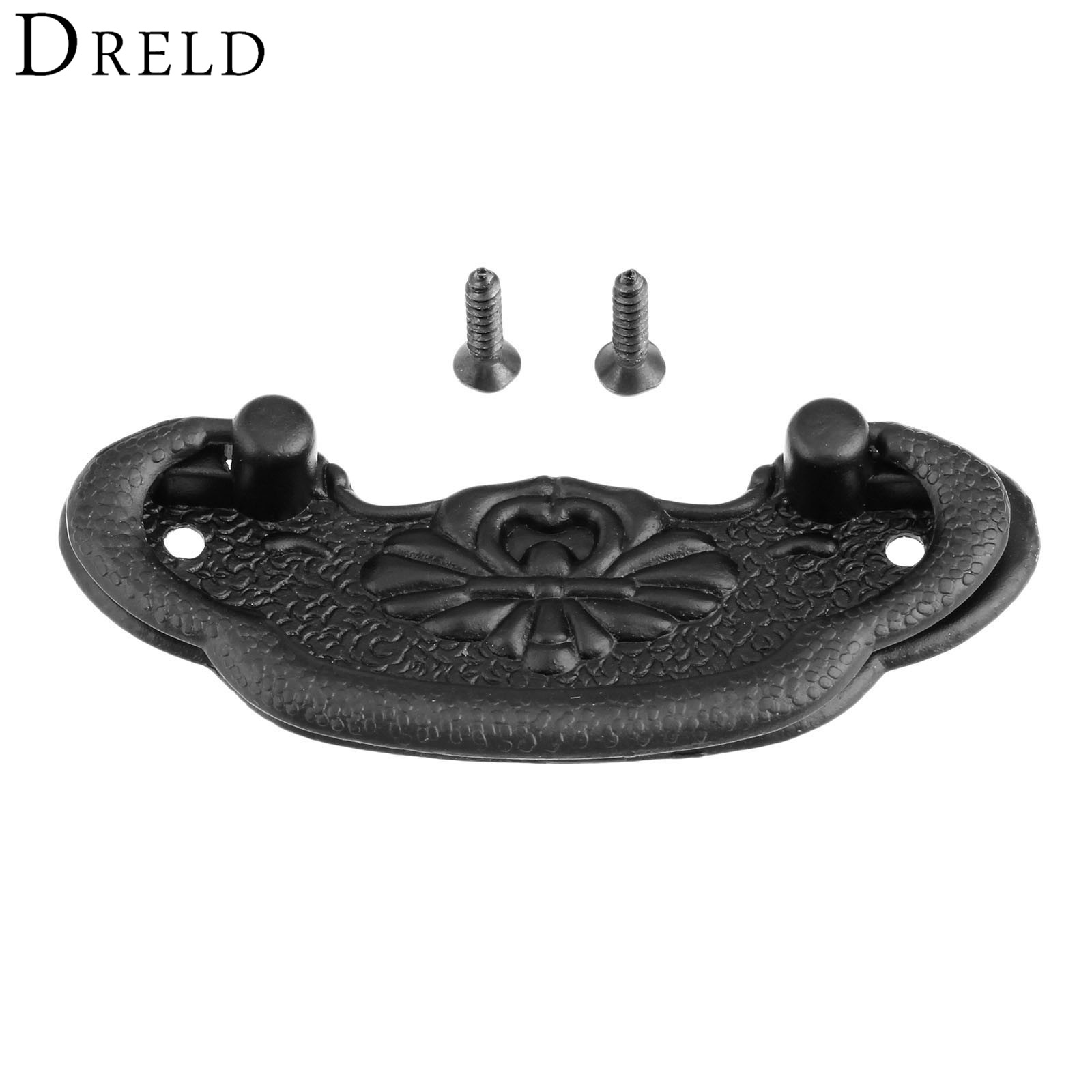 DRELD 1Pc Antique Furniture Handle Black Cabinet Knobs and Handles Kitchen Drawer Cupboard Pull Door Handles Furniture Fittings 10pcs pure copperkitchen cabinet handles and knobs black furniture handle for kitchen cabinet drawer pull 96mm 128mm single hole