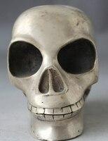 WBY 503 + + + 5 Китайский фэн шуй народный серебряный человек череп голова, бюст, Статуя Скульптура