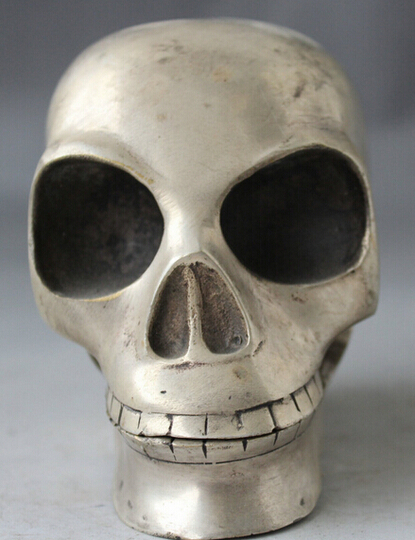 WBY---503+++5 China Chinese Feng Shui Folk Silver Man Die Skull Head Bust Statue SculptureWBY---503+++5 China Chinese Feng Shui Folk Silver Man Die Skull Head Bust Statue Sculpture