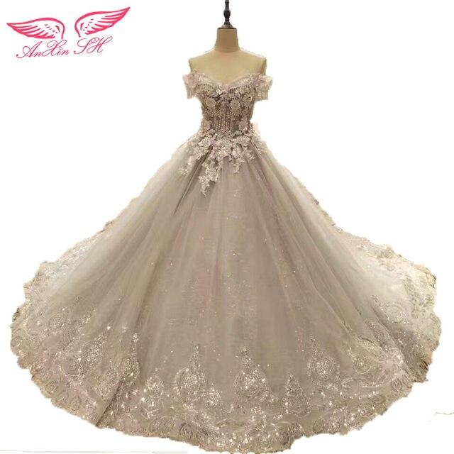 Online Shop AnXin SH Princess flower beading grey lace wedding Dress ...
