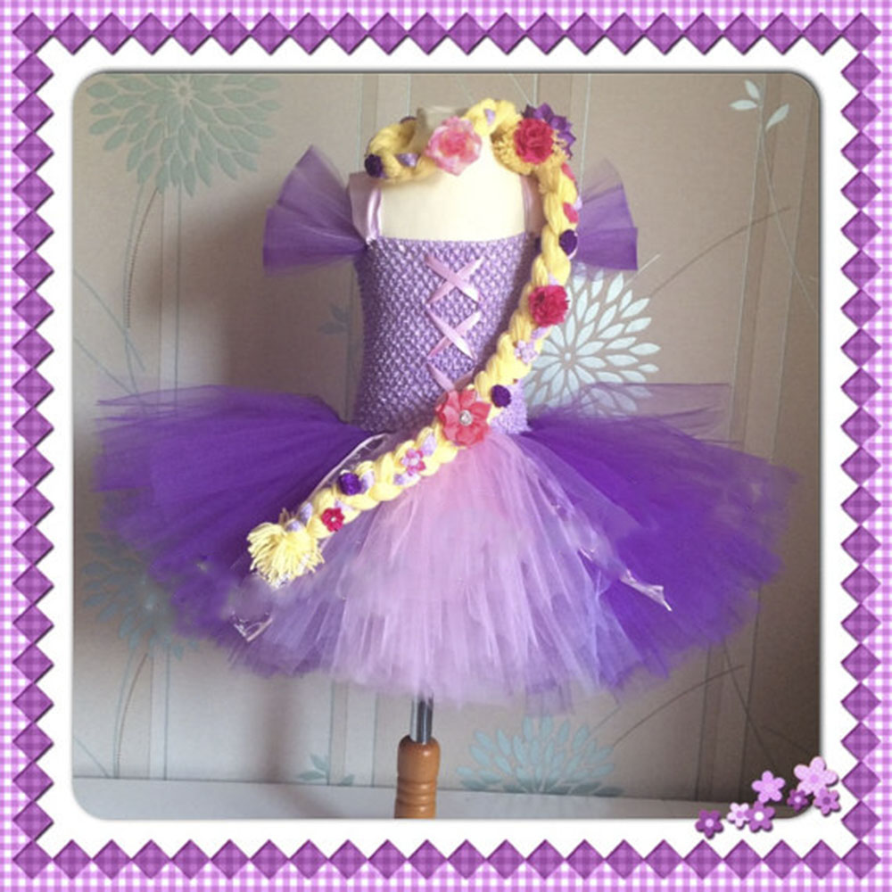 Princess Tutu Rapunzel Lace Tutu Dress Knee Length Children Evening Party Dance Dress Flower Girl Birthday Tutus Clothing 2-8Y purple girl flowers long section tutu dress 5y birthday princess dress girl dress 6 y holiday evening dress
