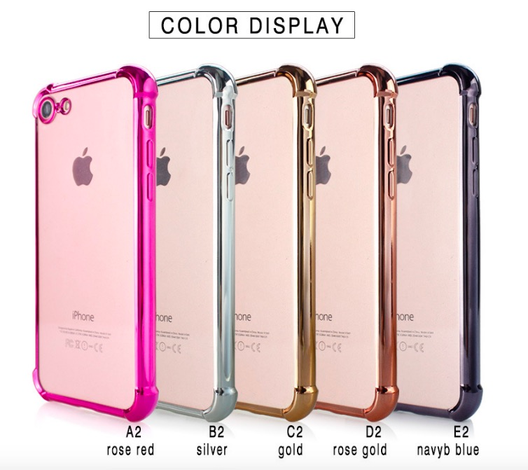 For iPhone 6 6S 7 PLUS 4.7 5.5 Galaxy S8 Plus 1000pcs Electroplating Hybrid 360 Full Body Shockproof Case TPU PC Gel Skin Cover
