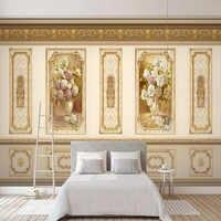 Custom Photo Wallpaper 3D Stereo Pastoral Golden Flowers Murals Living Room TV Sofa Home Decor Background Wall Painting Frescoes
