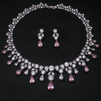 Pink Wedding Fashion AAA Cubic Zircon Jewelry Sets ,Earrings /Necklace,Promotion,Nickel Free, Factory price