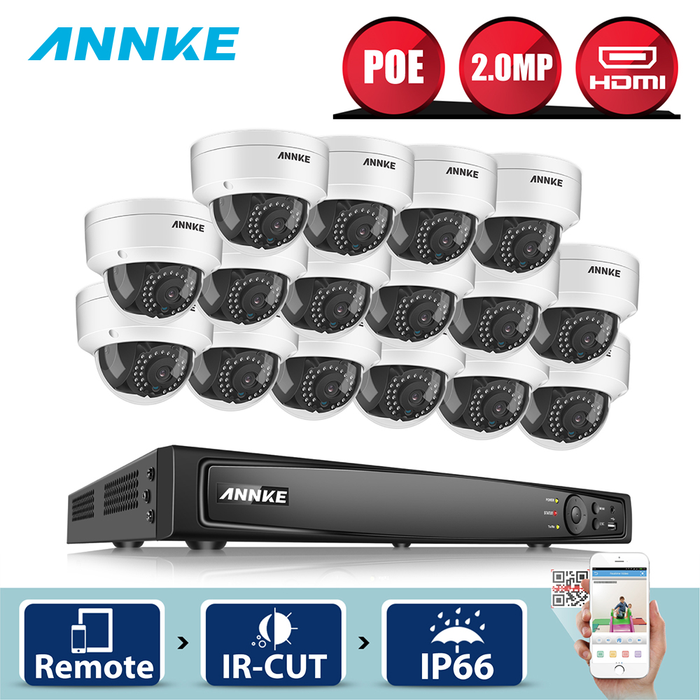 ANNKE 16CH 1080P HDMI POE NVR 16pcs 2MP Outdoor Smart Home Security Camera System 30M IR Night Vision CCTV Security Camera KitANNKE 16CH 1080P HDMI POE NVR 16pcs 2MP Outdoor Smart Home Security Camera System 30M IR Night Vision CCTV Security Camera Kit