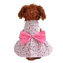 New style Cotton pet dog dress Rural floral Summer pet clothing for dogs girls Blue print small dog clothes for Princess dress