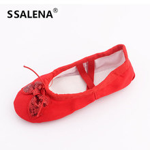 Girls Bow-Knot Soft Ballet Shoes Women Comfortable Fitness Breathable Shoes Canvas Practice Gym Balleria Pointe Shoes AA51094