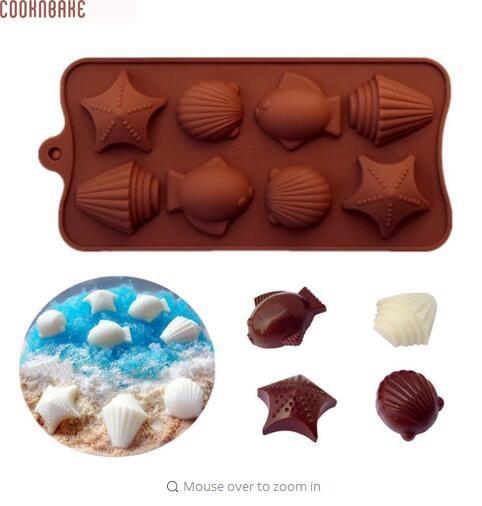 COOKNBAKE DIY 실리콘 오븐용 접시 금형 바다 쉘 생선 케이크 베이킹 금형 수제 초콜릿 아이스 큐브 DIY 금형 SICM-008-11