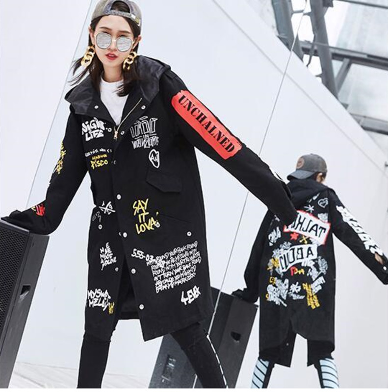 #3112 High Street Personality Windbreaker Girls Long Loose   Trench   Coat Punk Rivet Black/White Hooded Harajuku Overcoat Women