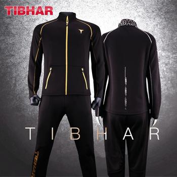 TIBHAR tenis stołowy odzież sportowa nowa kurtka strój treningowy ze spodniami koszulki ping pong sweter z tkaniny tanie i dobre opinie Pasuje prawda na wymiar weź swój normalny rozmiar