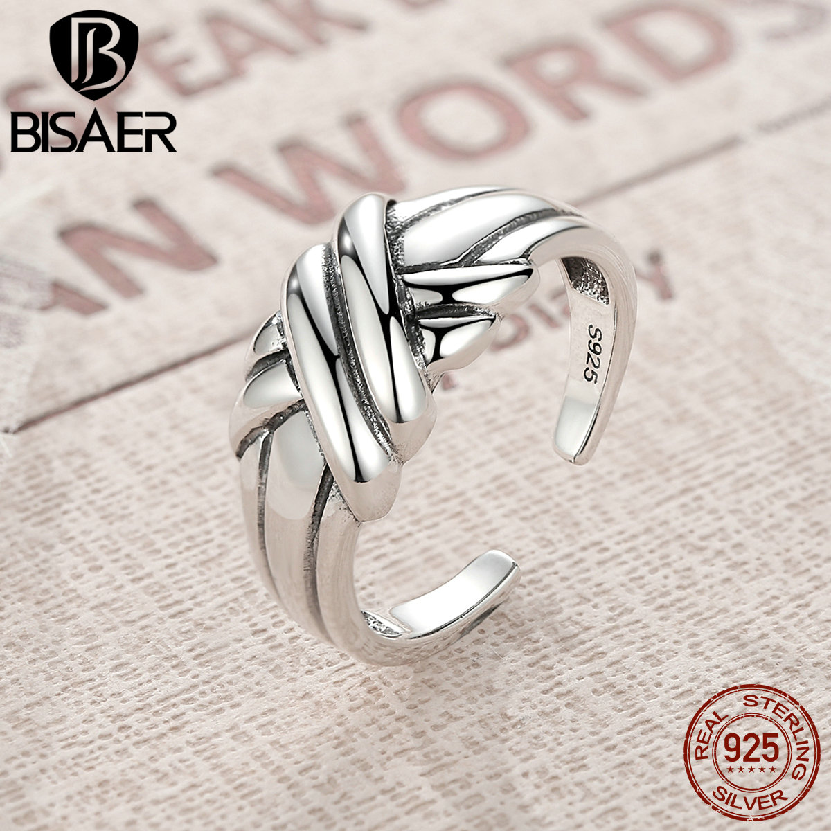 BISAER Pure 100% 925 Sterling Silver Vintage Cross Braided Knot Stackable Finger Ring Wedding Sterling Silver Jewelry GZR002
