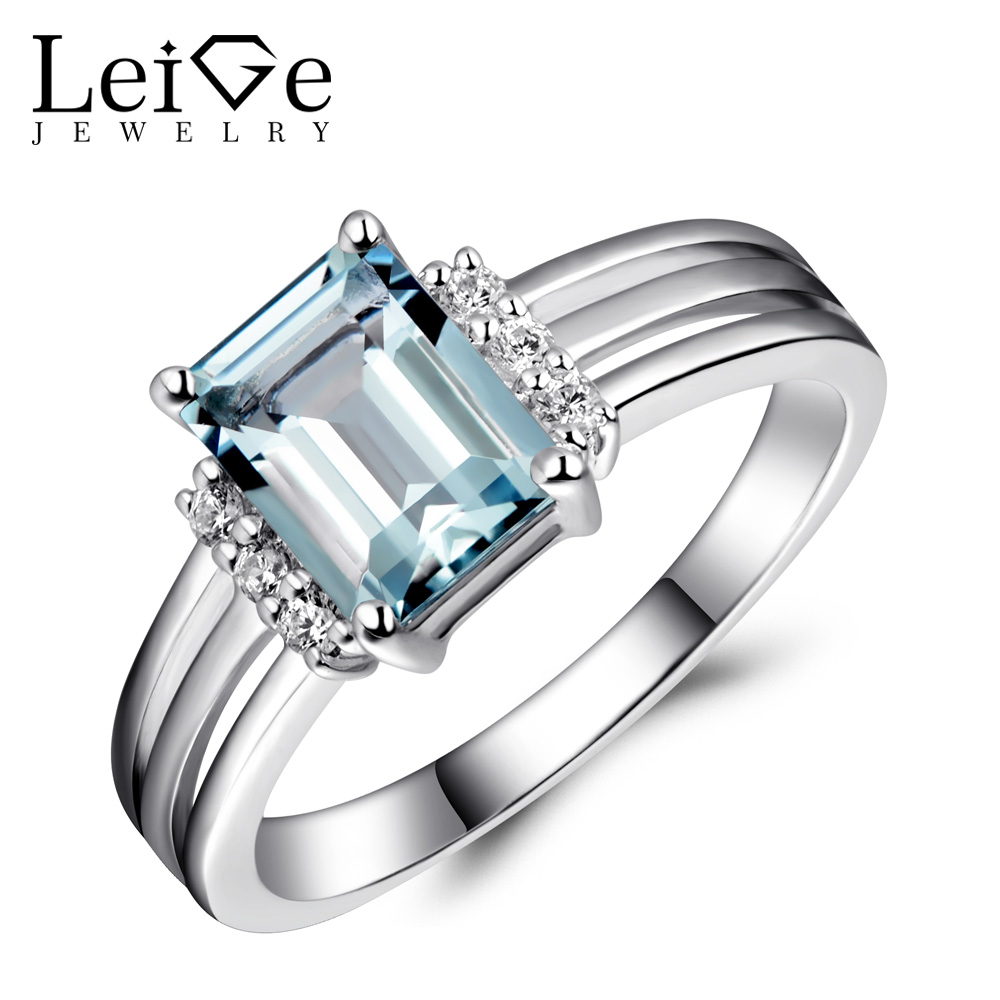 Leige Jewelry Rings Aquamarine Sterling Silver 925 Natural Blue Gemstone Emerald Cut Love Wedding Anniversary Rings for Women