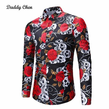 Casual shirt men Vintage Skulls rose flowers print men's dress shirts long sleeves slim fit social male shirt plus size