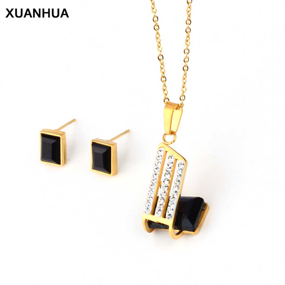 XUANHUA Stainless Steel Women Jewelry Sets Accesories Indian Wedding Jewelry Women Turkish Necklace Set Schmuck Jewellery Sets