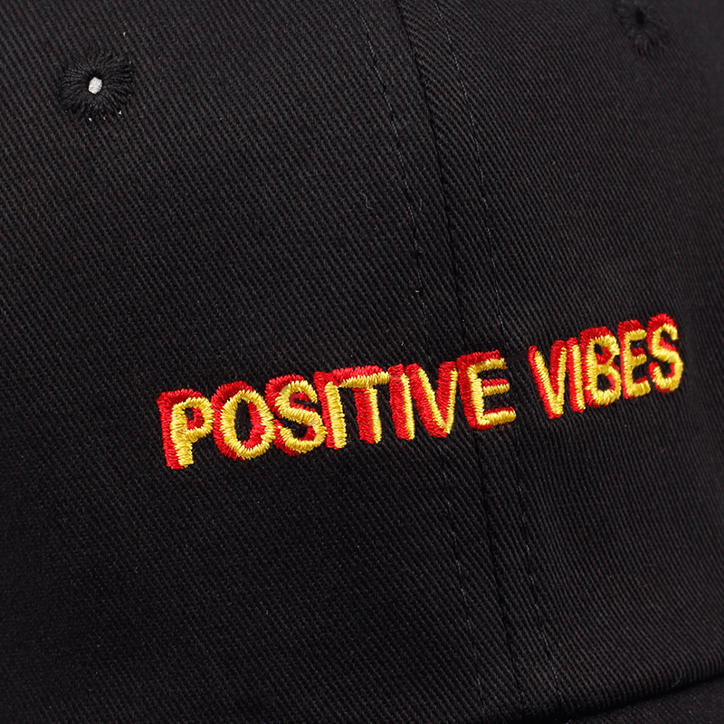 New Positive Vibes Cotton Embroidery Baseball Cap Men Women Summer Fashion Dad hat Hip-hop caps