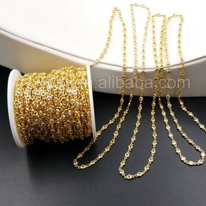 Image 2 - WT BC081 la mejor cadena de latón galvanizado de oro con cuenta de circón, cadena de latón para suministro de joyería