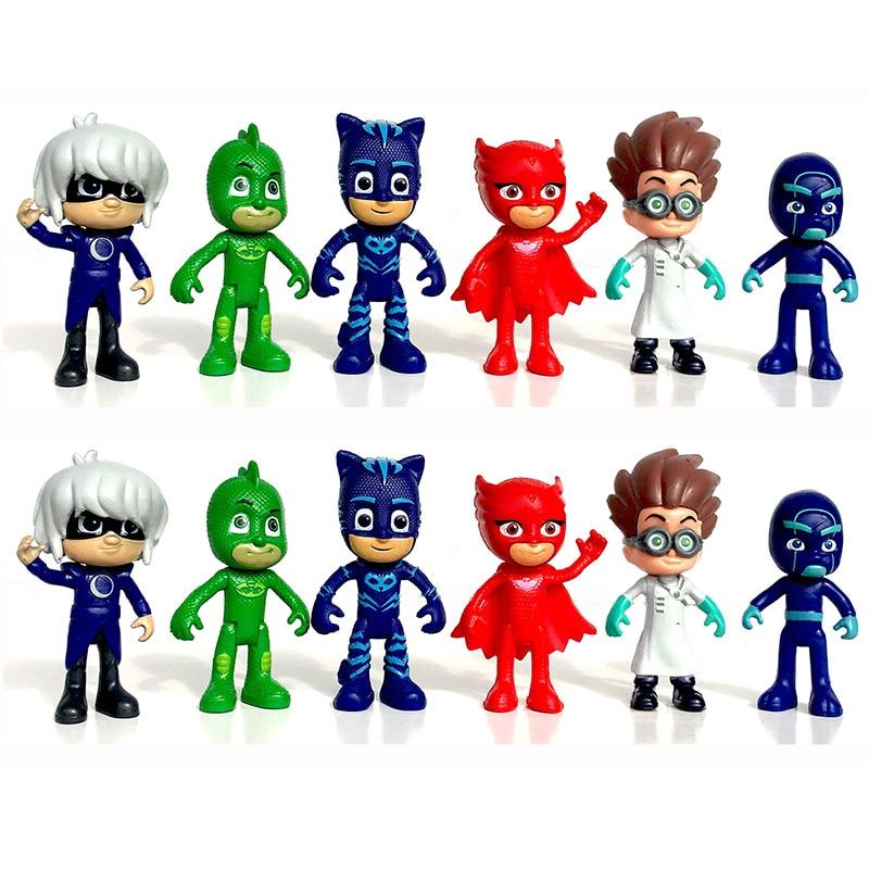 6pcs/set Pj Masks gekko Anime Figurine Brinquedo 8cm PVC Pajamas Masked Hero Pjmask Action Figure Toys for Boys Christmas gift touken ranbu online tsurumaru kuninaga 1 8 complete figure figurine 22cm