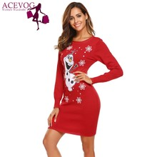 ACEVOG Christmas Style Women Casual Long Pencil Sweater Dress O-Neck Long Sleeve Prints Thread Hem and Cuffs Package Hip Sweater