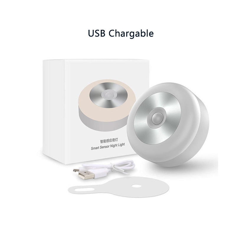 LED Motion Sensor Light Bedroom Livingroom Night Light USB Rechargeable Battery Wall Lamp Auto On/Off Wireless Magnet Hang Lamp