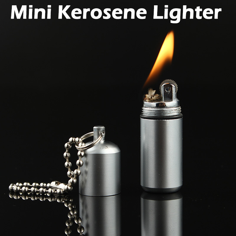Outdoor Metal Waterproof Kerosene Lighter Key Chain Capsule Compact Gasoline Lighter Inflated Keychain Petrol Lighter Tools