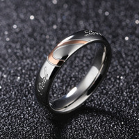 316L Stainless Steel Silver Half Heart Simple Circle Real Love Couple Ring 1