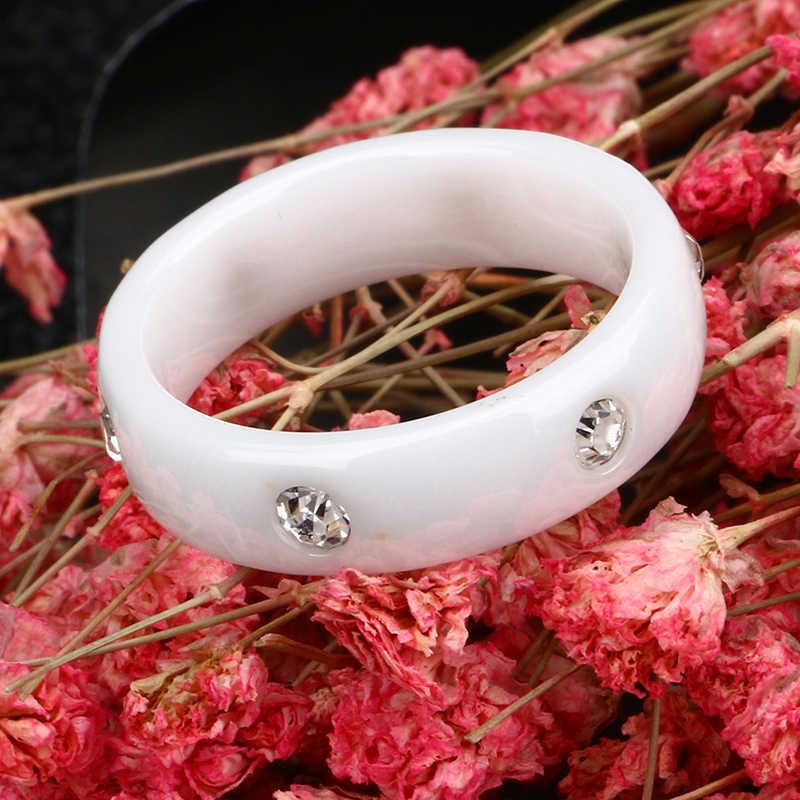 สีดำและสีขาวเซรามิคแหวนหญิง 2017 ใหม่แฟชั่น Love แหวน Big Chic Zircon แหวนเซรามิคเครื่องประดับคริสต์มาสของขวัญ
