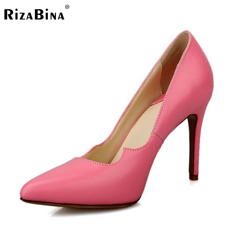 women real genuine leather stiletto pointed toe high heel shoes brand sexy fashion pumps ladies heeled shoes size 34-39 R6067-1 esveva 2017 ankle strap high heel women pumps square heel pointed toe shoes woman wedding shoes genuine leather pumps size 34 39