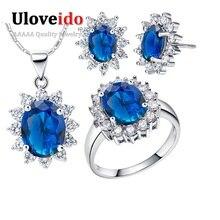 Uloveido Sapphire Boda Nupcial Sistemas de la Joyería de Plata de Ley 925 Collar de la Flor Pendientes Anillo Traje Barato Mujeres Set T466