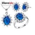 Uloveido cubic zirconia de boda nupcial sistemas de la joyería de plata de ley 925 anillo aretes collar de la flor mujeres del traje set t466