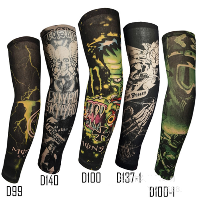 1PC Fashion Fake Tattoo Arm Warmers Cycling Sleeves Nylon Men Women UV Sun Protection Outdoor Driving Arm Sleeves