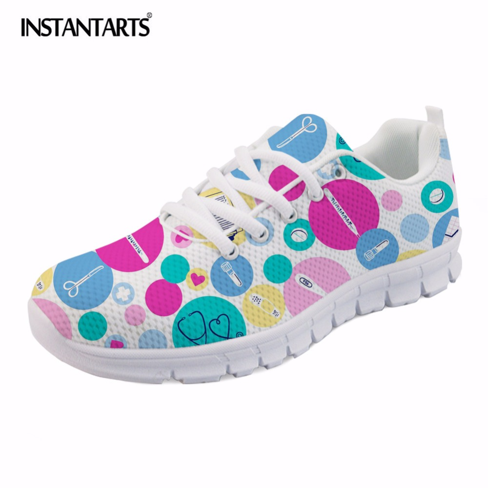 INSTANTARTS Women Flats Cute Cartoon Nurses Printed Women's Sneakers Spring Nurse Shoes Casual Breathable Mesh Female Flat Shoes instantarts cute women flat shoes puppies samoyed flower printed teen girls spring mesh flats shoes fashion comfortable sneakers