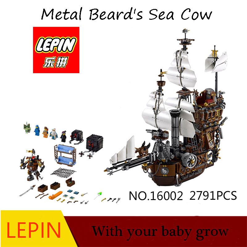 цены  DHL Free Shipping LEPIN 16002 Pirate Ship Metal Beard's Sea Cow Model Building Kits Blocks Bricks Toys Compatible Legoed 70810