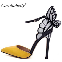 Big Size Free Shipping 2014 Thin High Heels Women Pumps Butterfly Heels Sandals Sexy Wedding ShoesParty