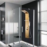 Высший сорт Ванная комната 0.8 мм Толщина Нержавеющаясталь тропический душ Панель Дождь Массаж Системы кран с струй ручной душ Rack