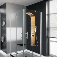 Top grade Bathroom 0.8mm Thickness Stainless Steel Rainfall Shower Panel Rain Massage System Faucet with Jets Hand Shower Rack