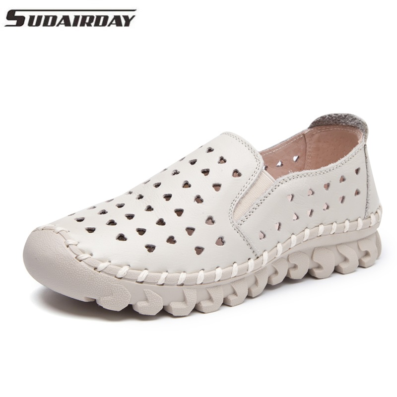 Women's Summer Shoes Genuine Leather Slip On Handmade Flat Breathable Shoes Woman Hollow Out  Shoes Women Flats Loafers artmu fashion women sandals shoes hollow breathable handmade genuine leather shoes woman beach shoe soft bottom 2018 summer new