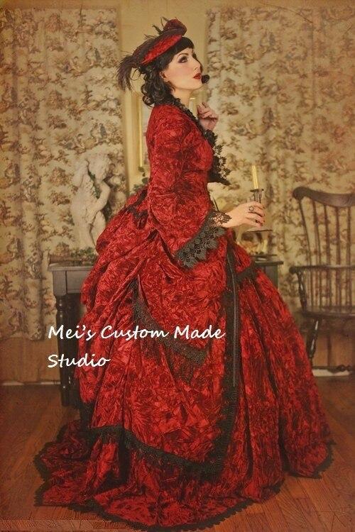 Custom Made Victorian Reproduction Polonaise Steampunk Gothic Velvet Set CustomBridal Dress