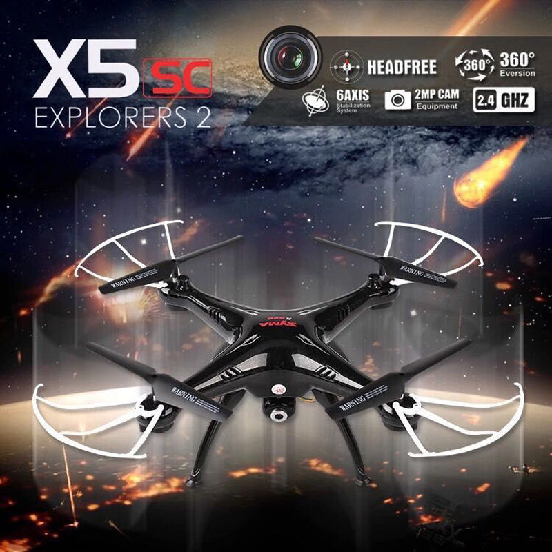 Syma X5SC RTF Gyro RC Quadcopter Hold Altitude 2MP HD Camera 4CH RC Helicopter 3D Rollover 2.4GHz Explorers aircraft Drone syma x5hc with 2mp hd camera 3d roll altitude hold