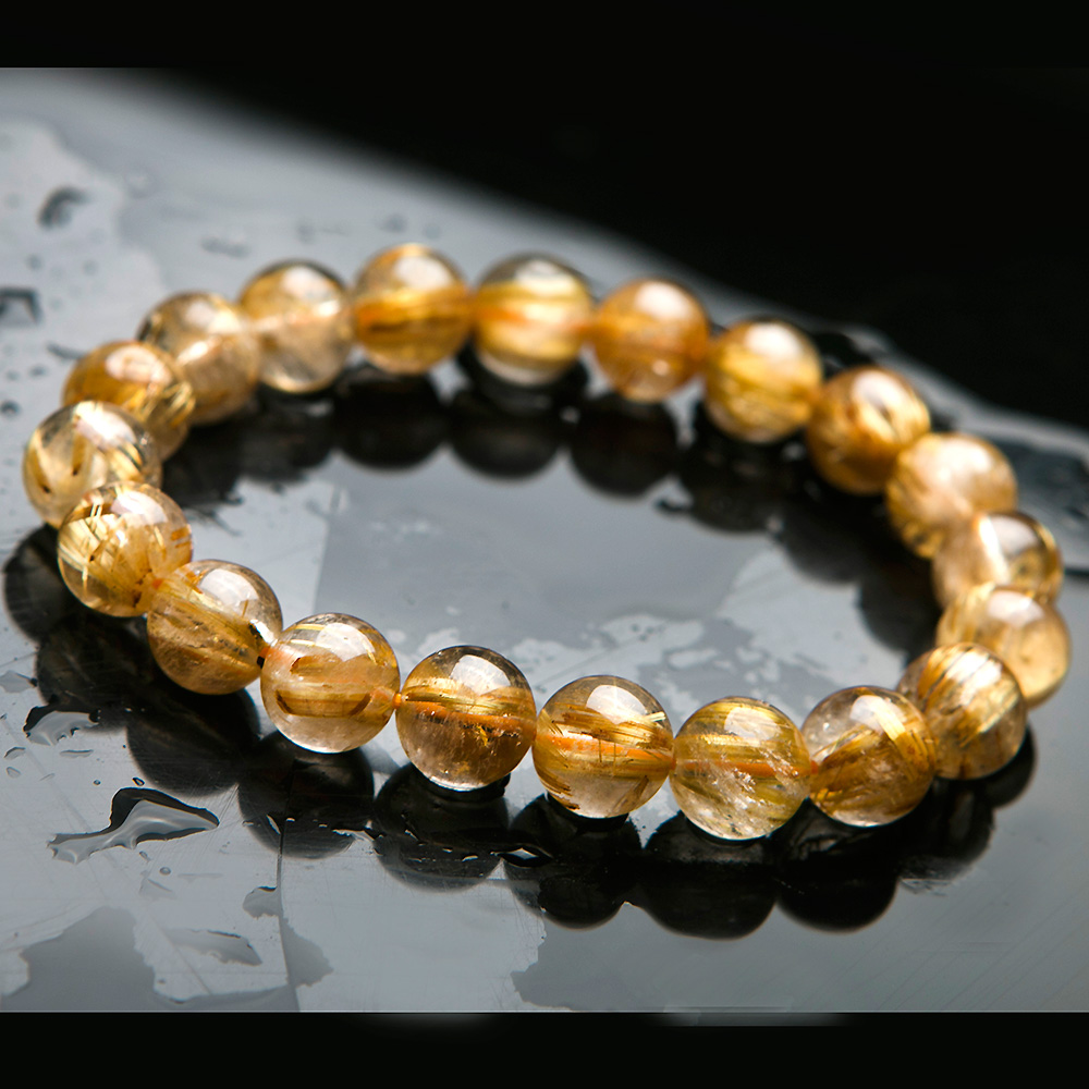 10mm Natural Gold Rutilated Quartz Titanium Crystal Round Beads Bracelet Woman Man Gemstone Jewelry Lucky AAAA