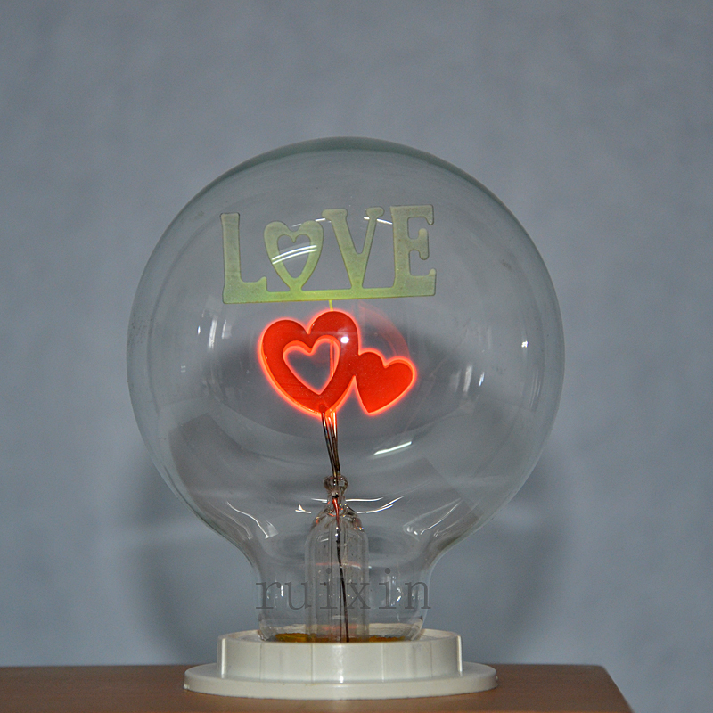 2 шт./лот G80 E27 свет пламени Эдисон Ретро промышленные двойной сердца лампы декоративные освещения партия Сердце неоновая лампа ...