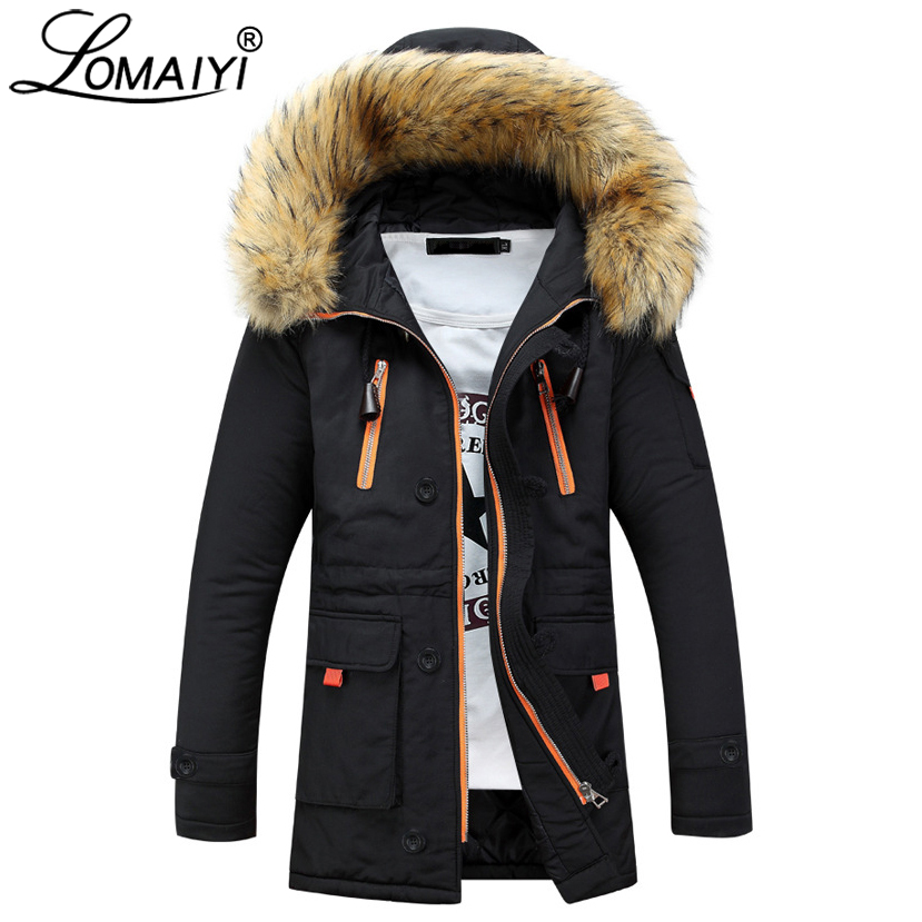 LOMAIYI Lovers Winter Down Jacket Men Long Parka With Fur