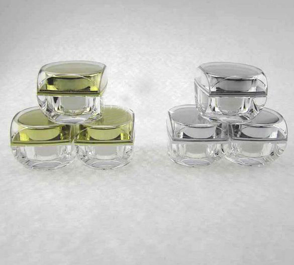 5g clear square acrylic cosmetics packing bottle with gold silver cover,Cream box / bottle 5g clear round heart shaped acrylic cosmetics packing bottle cream box bottle