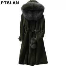 2017 New Direct supply from factory Winter Fashion Long style High grade Sheep fur women coats fox fur collar hoode