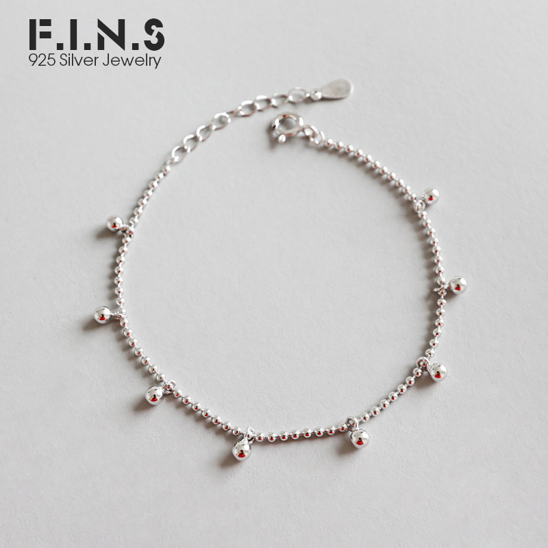 F.I.N.S 925 Sterling Silver <font><b>Bracelet</b></font> Minimalist Beads Ball <font><b>Bracelet</b></font> Silver 925 Charms <font><b>Bracelets</b></font> on <font><b>Hand</b></font> Jewelry for Women image