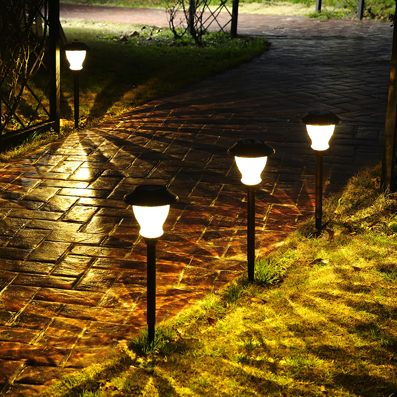 2018 Newest LED Bulbs Path Light Glass Crack Solar Powered LED Lawn Light Outdoor Landscape Lamp Intelligent Energy Saving